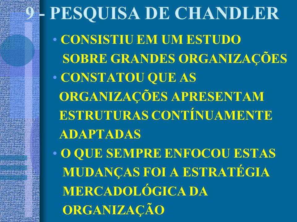 9 - PESQUISA DE CHANDLER CONSISTIU EM UM ESTUDO