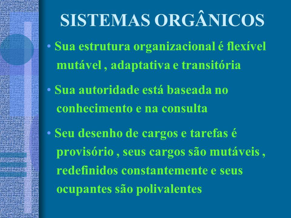 SISTEMAS ORGÂNICOS Sua estrutura organizacional é flexível