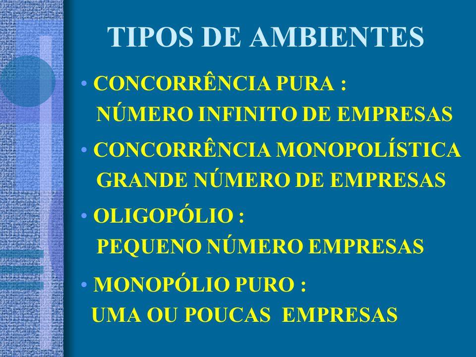 TIPOS DE AMBIENTES CONCORRÊNCIA PURA : NÚMERO INFINITO DE EMPRESAS