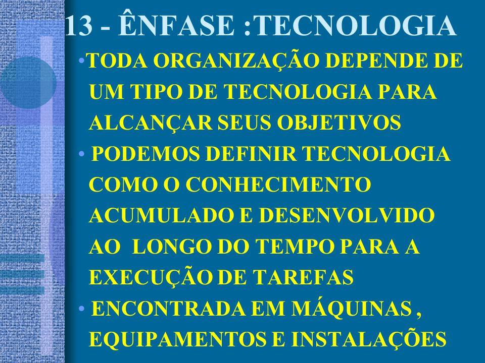 13 - ÊNFASE :TECNOLOGIA TODA ORGANIZAÇÃO DEPENDE DE