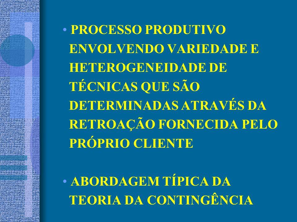 PROCESSO PRODUTIVO ENVOLVENDO VARIEDADE E. HETEROGENEIDADE DE. TÉCNICAS QUE SÃO. DETERMINADAS ATRAVÉS DA.