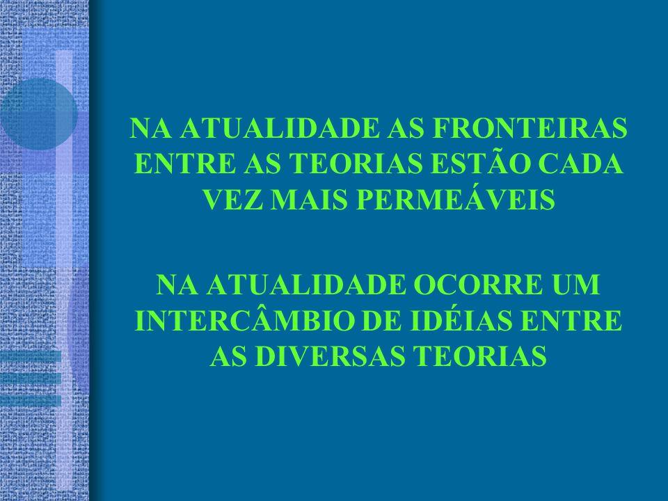 NA ATUALIDADE AS FRONTEIRAS ENTRE AS TEORIAS ESTÃO CADA VEZ MAIS PERMEÁVEIS