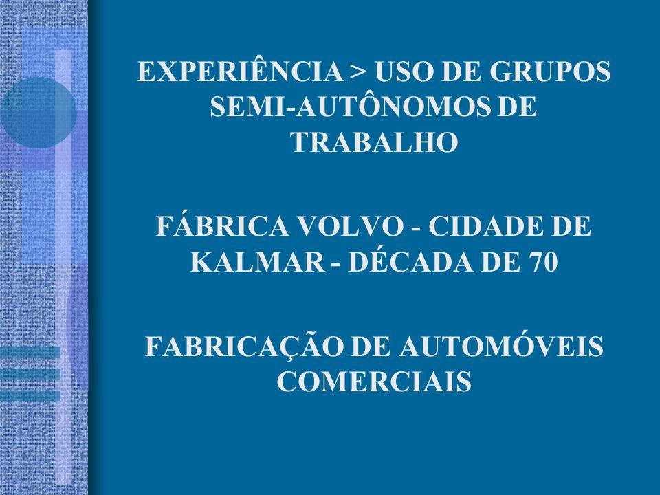 EXPERIÊNCIA > USO DE GRUPOS SEMI-AUTÔNOMOS DE TRABALHO