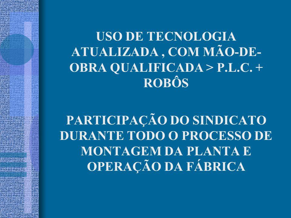 USO DE TECNOLOGIA ATUALIZADA , COM MÃO-DE-OBRA QUALIFICADA > P.L.C. + ROBÔS