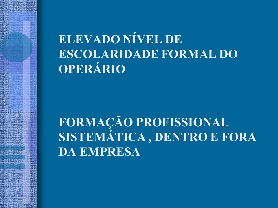 ELEVADO NÍVEL DE ESCOLARIDADE FORMAL DO OPERÁRIO