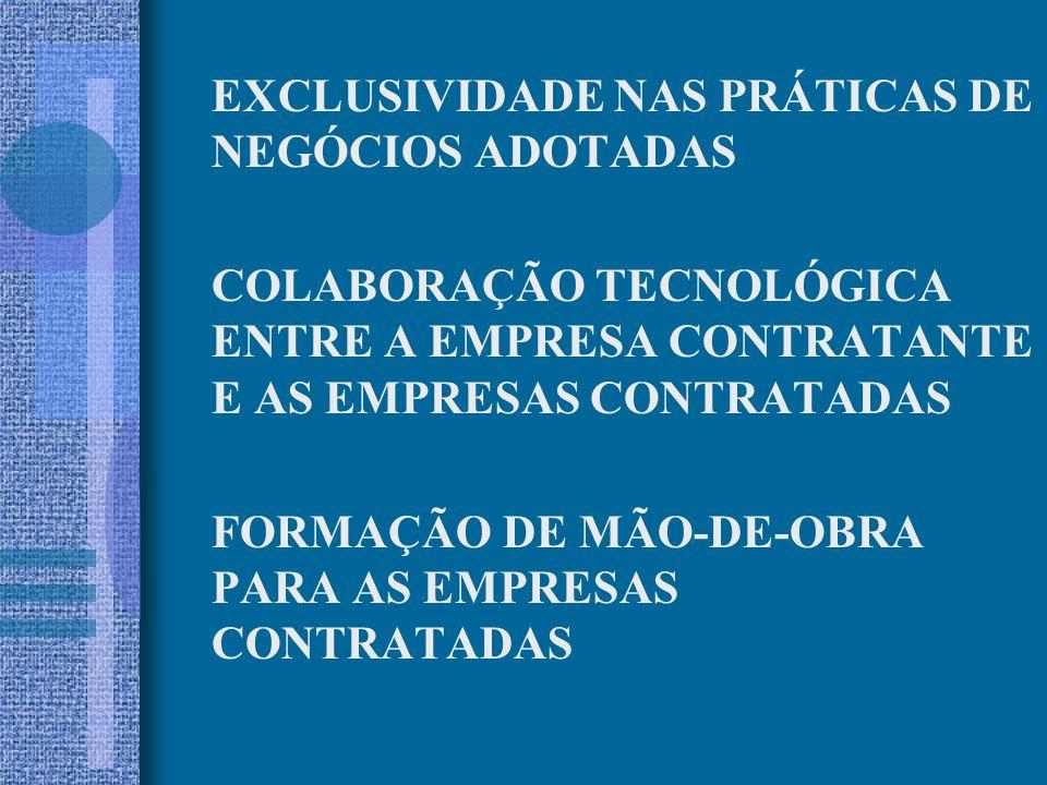 EXCLUSIVIDADE NAS PRÁTICAS DE NEGÓCIOS ADOTADAS