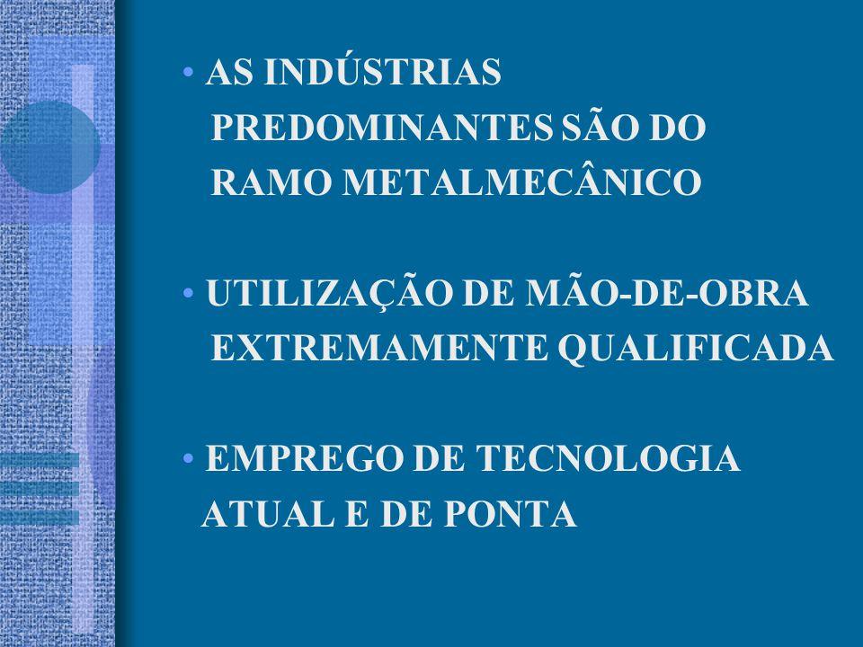 AS INDÚSTRIAS PREDOMINANTES SÃO DO. RAMO METALMECÂNICO. UTILIZAÇÃO DE MÃO-DE-OBRA. EXTREMAMENTE QUALIFICADA.