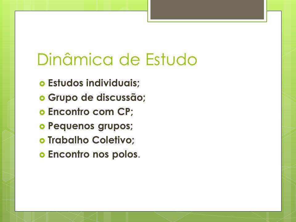 Dinâmica de Estudo Estudos individuais; Grupo de discussão;