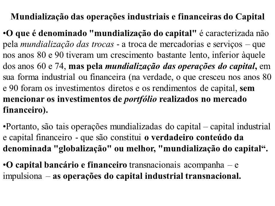 Mundialização das operações industriais e financeiras do Capital