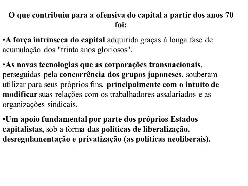 O que contribuiu para a ofensiva do capital a partir dos anos 70 foi: