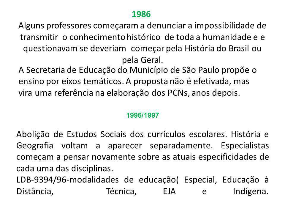 1986 Alguns professores começaram a denunciar a impossibilidade de transmitir o conhecimento histórico de toda a humanidade e e questionavam se deveriam começar pela História do Brasil ou pela Geral.