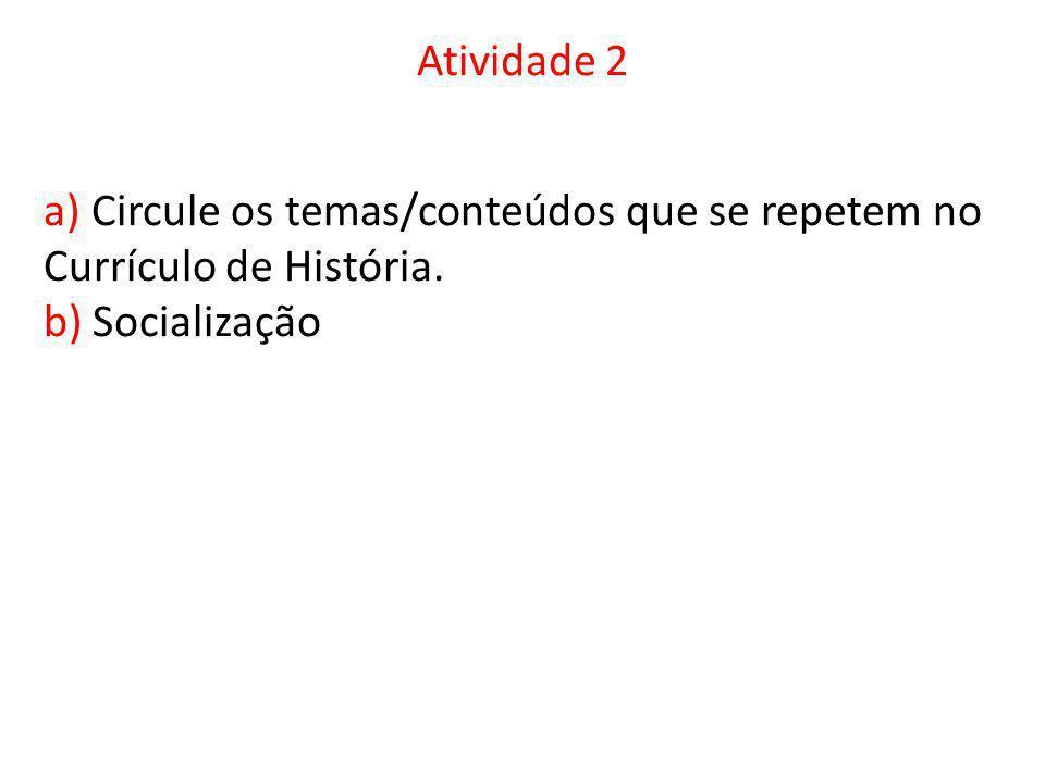 Atividade 2 a) Circule os temas/conteúdos que se repetem no Currículo de História. b) Socialização