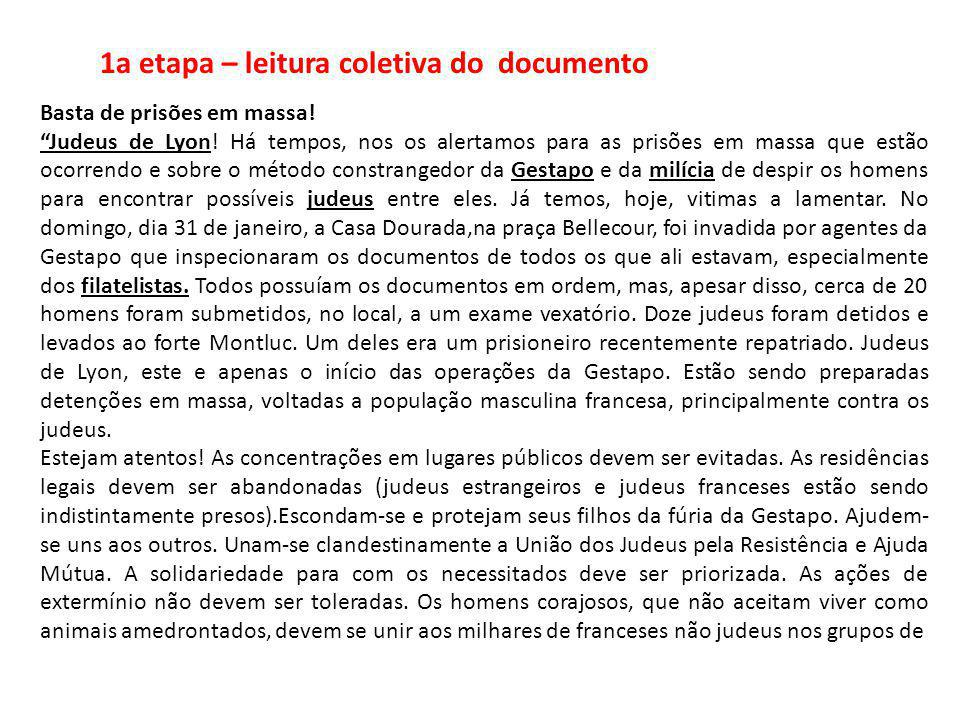 1a etapa – leitura coletiva do documento