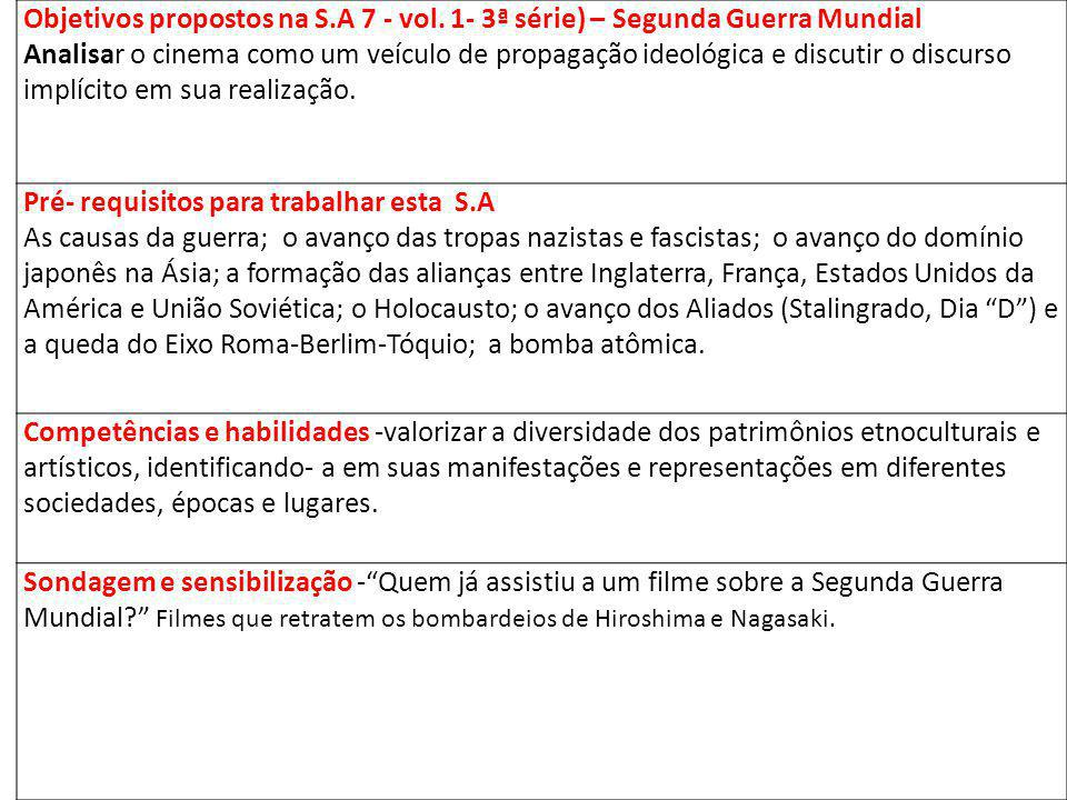 Objetivos propostos na S. A 7 - vol