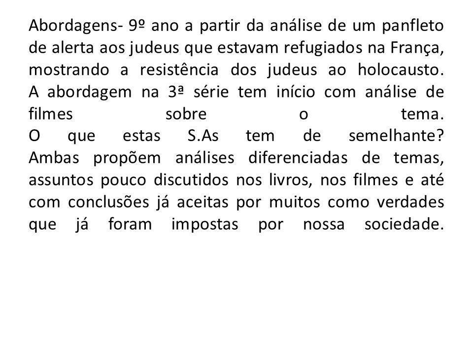 Abordagens- 9º ano a partir da análise de um panfleto de alerta aos judeus que estavam refugiados na França, mostrando a resistência dos judeus ao holocausto.