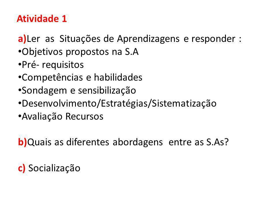 Atividade 1 a)Ler as Situações de Aprendizagens e responder : Objetivos propostos na S.A. Pré- requisitos.
