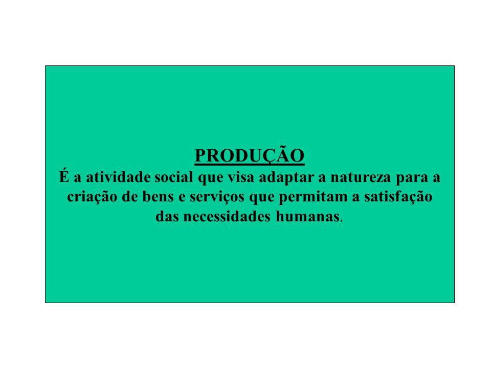PRODUÇÃO É a atividade social que visa adaptar a natureza para a