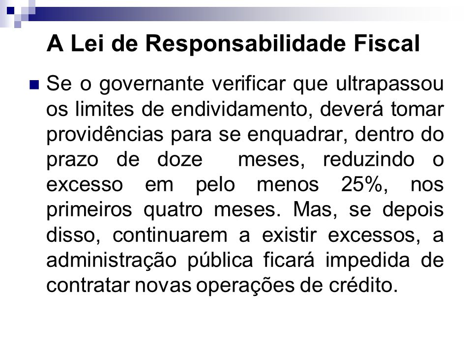 A Lei de Responsabilidade Fiscal