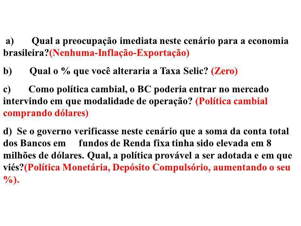 a) Qual a preocupação imediata neste cenário para a economia brasileira (Nenhuma-Inflação-Exportação)