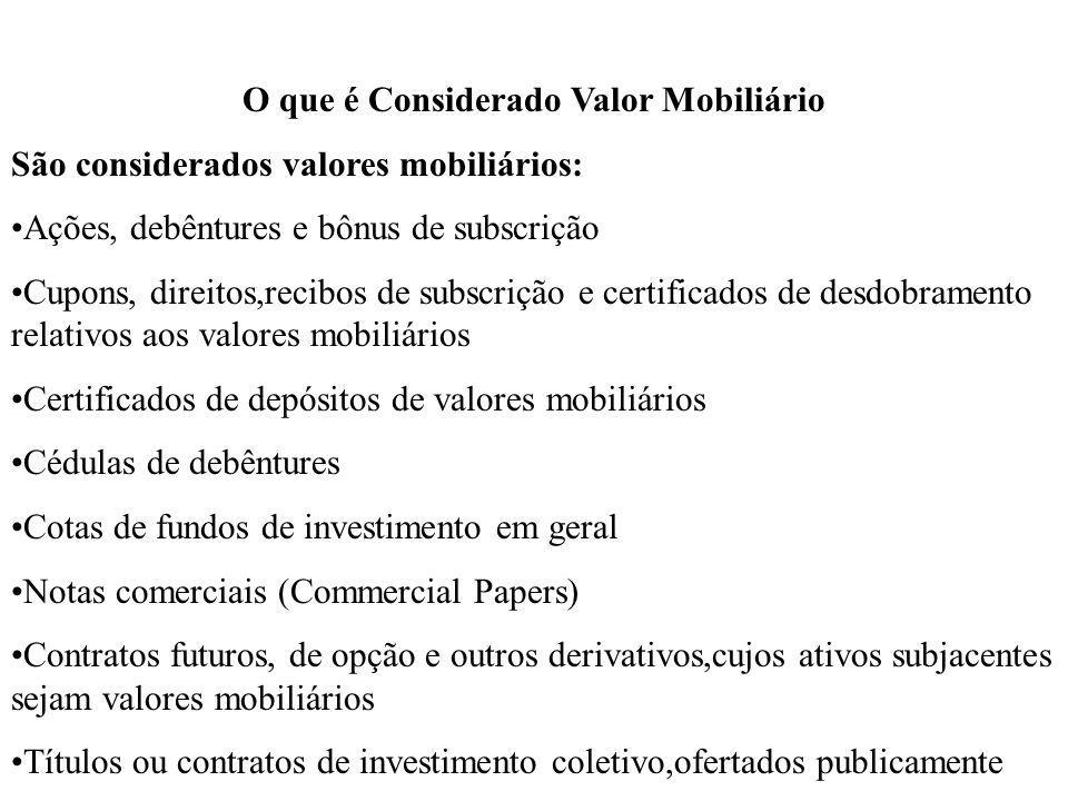 O que é Considerado Valor Mobiliário