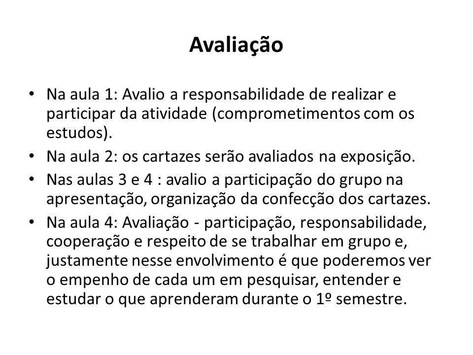 Avaliação Na aula 1: Avalio a responsabilidade de realizar e participar da atividade (comprometimentos com os estudos).