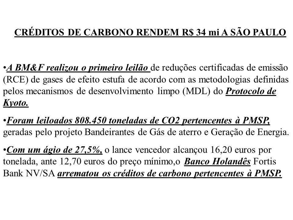 CRÉDITOS DE CARBONO RENDEM R$ 34 mi A SÃO PAULO