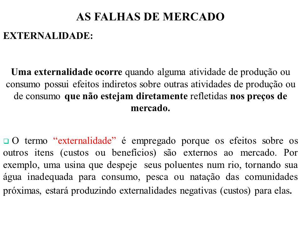 AS FALHAS DE MERCADO EXTERNALIDADE: