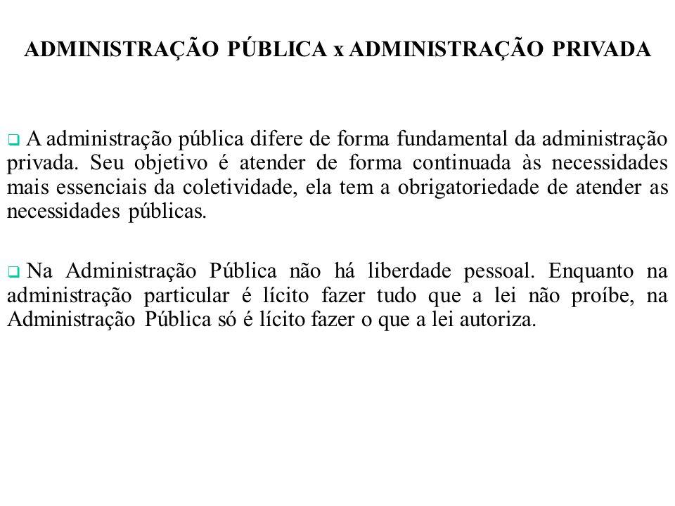ADMINISTRAÇÃO PÚBLICA x ADMINISTRAÇÃO PRIVADA