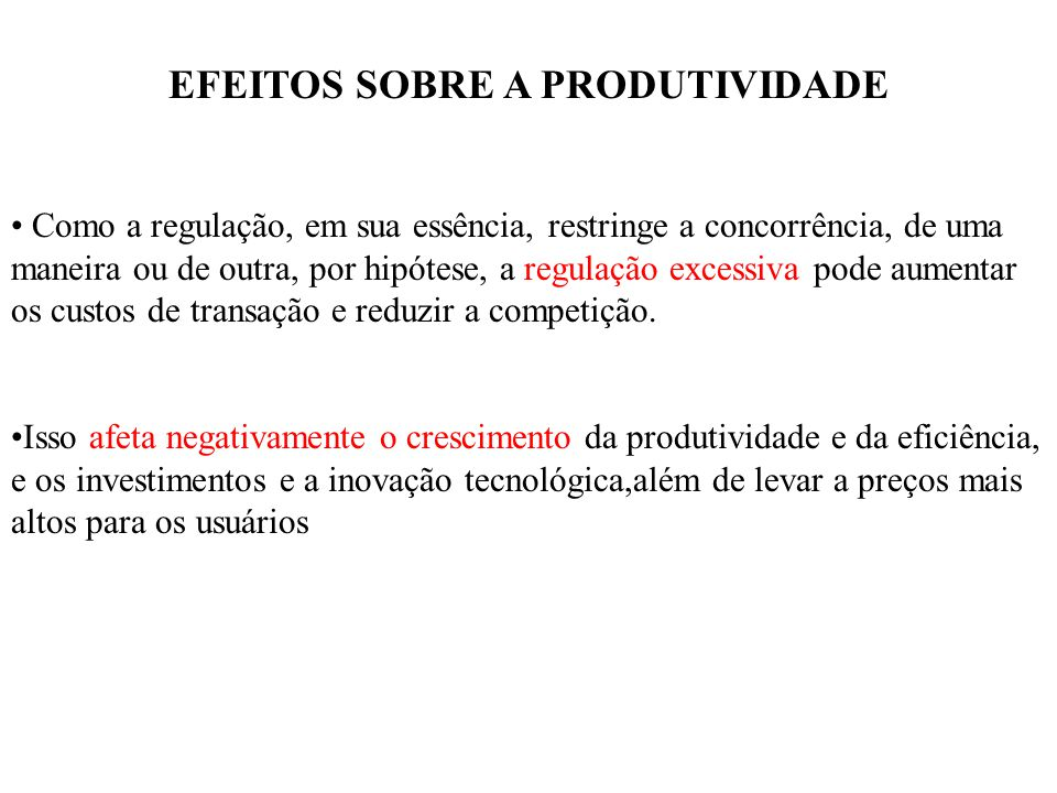 EFEITOS SOBRE A PRODUTIVIDADE
