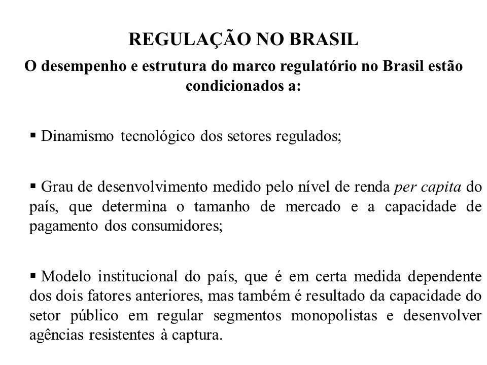 REGULAÇÃO NO BRASIL O desempenho e estrutura do marco regulatório no Brasil estão condicionados a: Dinamismo tecnológico dos setores regulados;