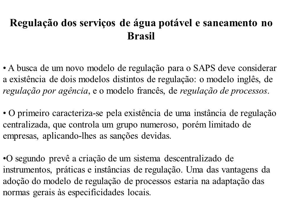 Regulação dos serviços de água potável e saneamento no Brasil