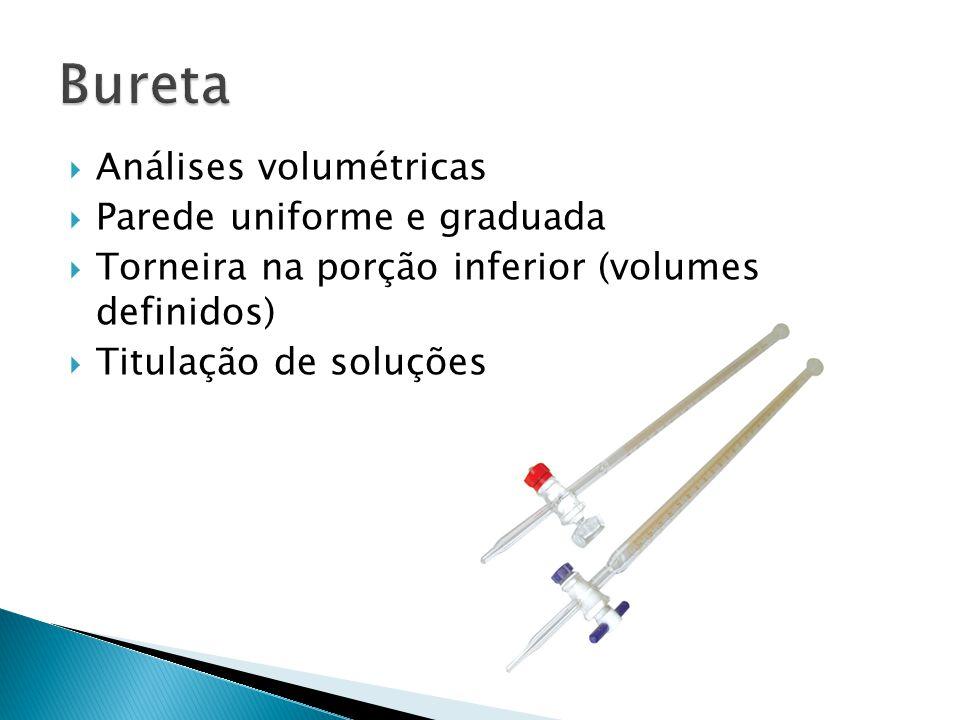 Bureta Análises volumétricas Parede uniforme e graduada