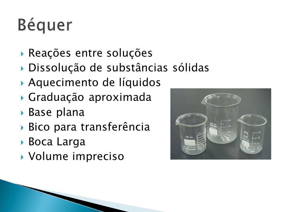 Béquer Reações entre soluções Dissolução de substâncias sólidas