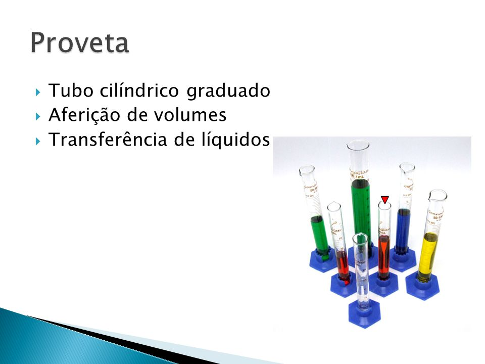 Proveta Tubo cilíndrico graduado Aferição de volumes
