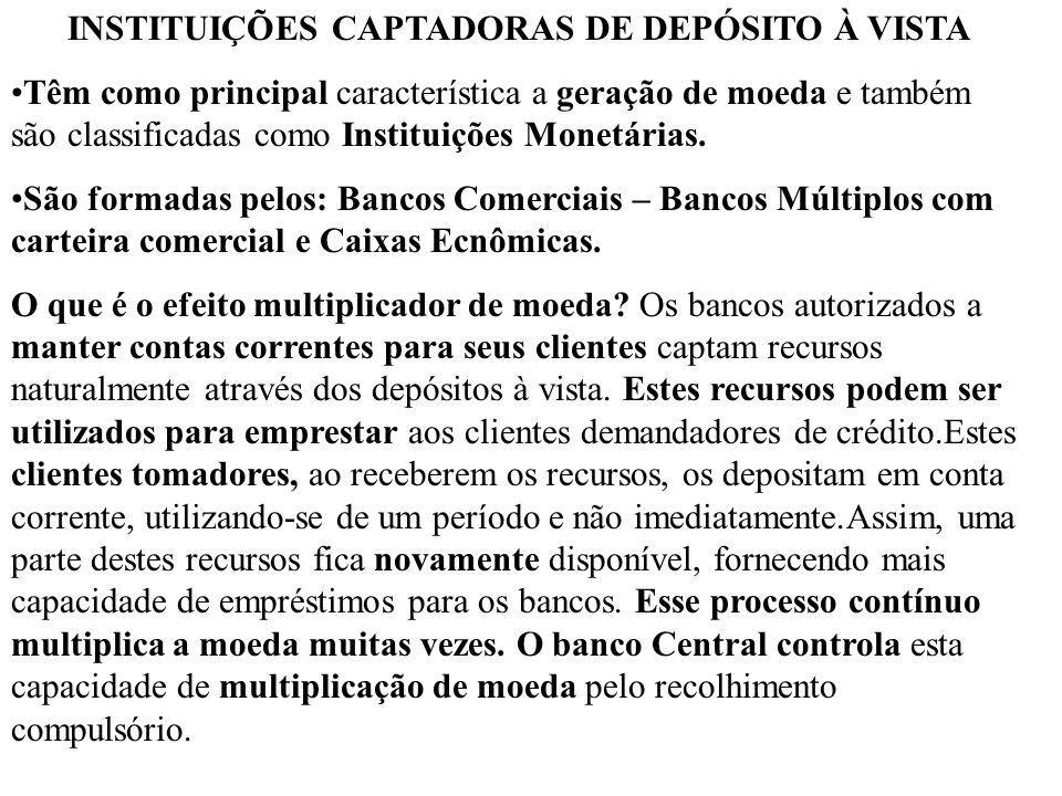 INSTITUIÇÕES CAPTADORAS DE DEPÓSITO À VISTA