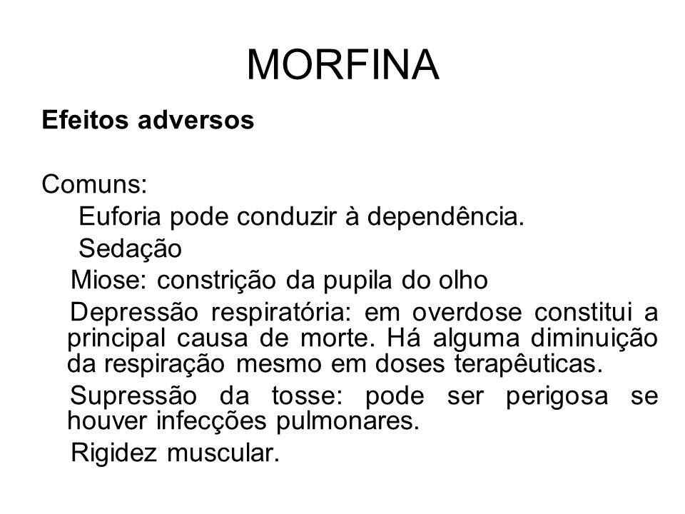 MORFINA Efeitos adversos Comuns: Euforia pode conduzir à dependência.