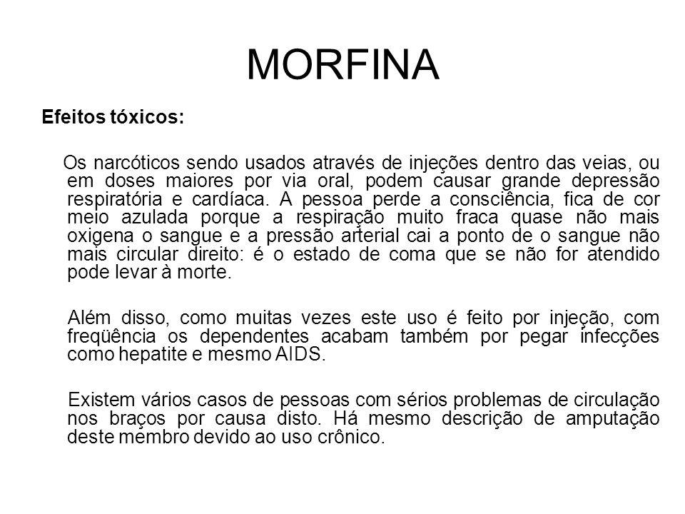 MORFINA Efeitos tóxicos:
