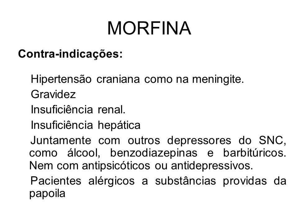 MORFINA Contra-indicações: Hipertensão craniana como na meningite.