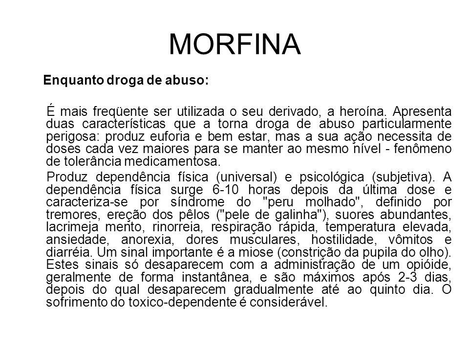 MORFINA Enquanto droga de abuso: