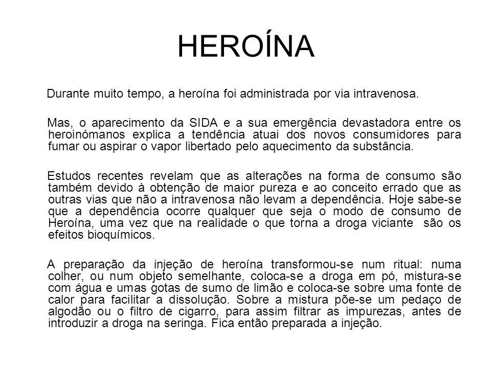 HEROÍNA Durante muito tempo, a heroína foi administrada por via intravenosa.