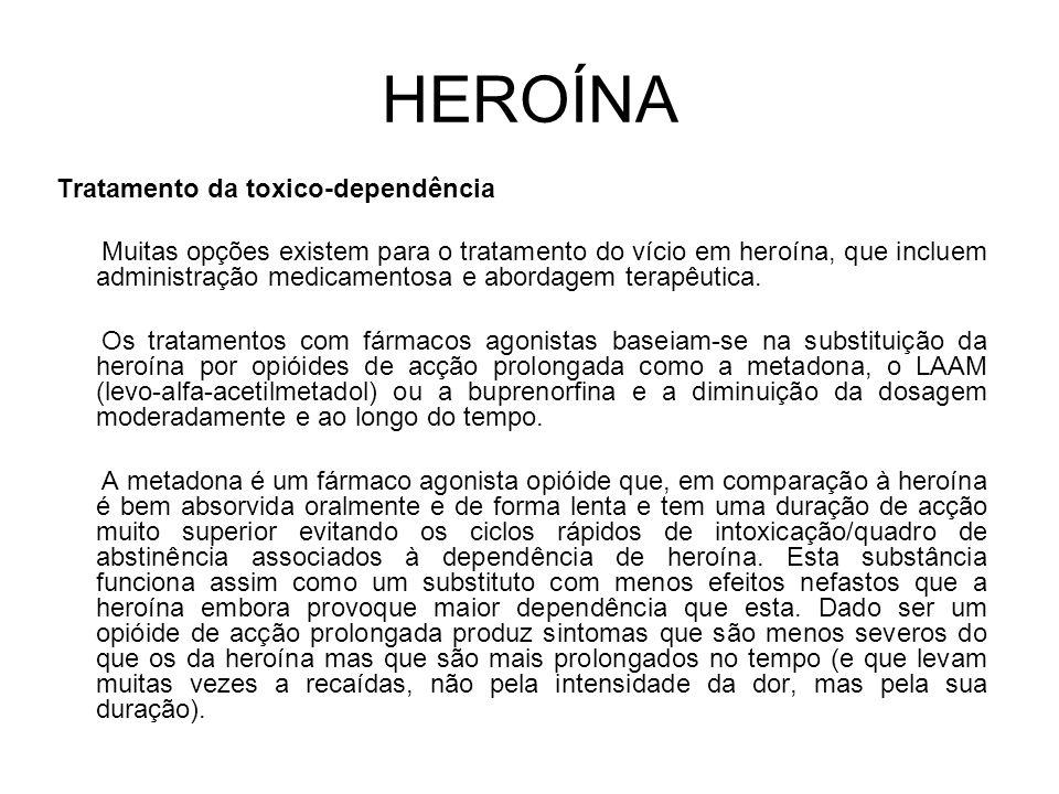 HEROÍNA Tratamento da toxico-dependência