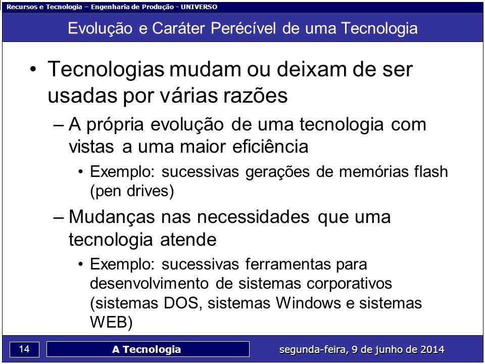 Evolução e Caráter Perécível de uma Tecnologia