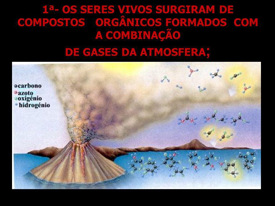 1ª- OS SERES VIVOS SURGIRAM DE COMPOSTOS ORGÂNICOS FORMADOS COM A COMBINAÇÃO DE GASES DA ATMOSFERA;