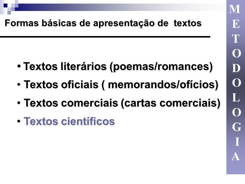 M E T O D L G I A Textos oficiais ( memorandos/ofícios)