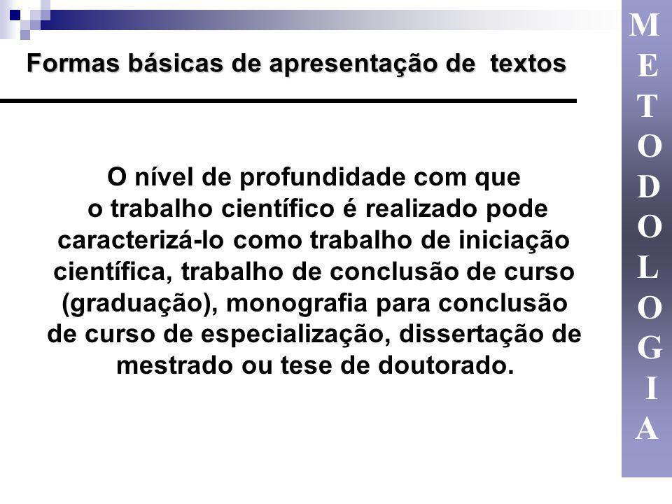 M E T O D L G I A Formas básicas de apresentação de textos