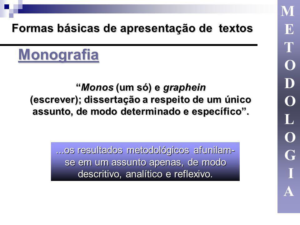 M E T O D L G I A Formas básicas de apresentação de textos Monografia