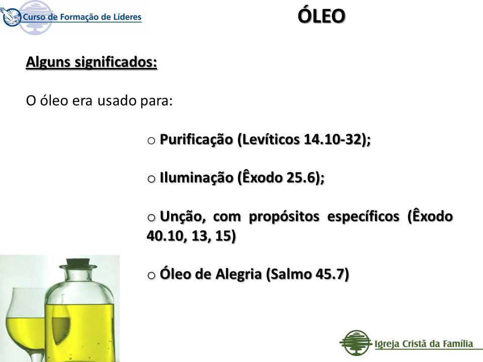 ÓLEO Alguns significados: O óleo era usado para: