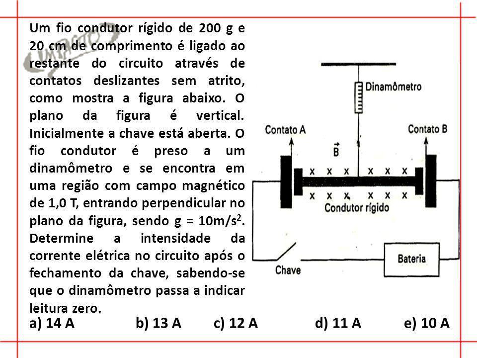 Um fio condutor rígido de 200 g e 20 cm de comprimento é ligado ao restante do circuito através de contatos deslizantes sem atrito, como mostra a figura abaixo. O plano da figura é vertical. Inicialmente a chave está aberta. O fio condutor é preso a um dinamômetro e se encontra em uma região com campo magnético de 1,0 T, entrando perpendicular no plano da figura, sendo g = 10m/s2. Determine a intensidade da corrente elétrica no circuito após o fechamento da chave, sabendo-se que o dinamômetro passa a indicar leitura zero.