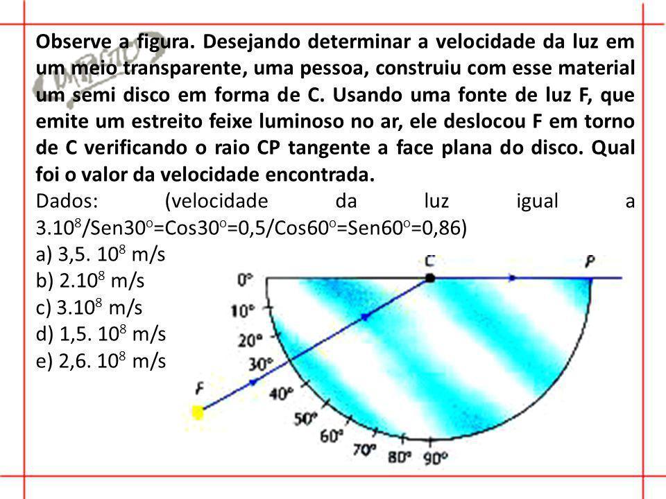 Observe a figura. Desejando determinar a velocidade da luz em um meio transparente, uma pessoa, construiu com esse material um semi disco em forma de C. Usando uma fonte de luz F, que emite um estreito feixe luminoso no ar, ele deslocou F em torno de C verificando o raio CP tangente a face plana do disco. Qual foi o valor da velocidade encontrada.