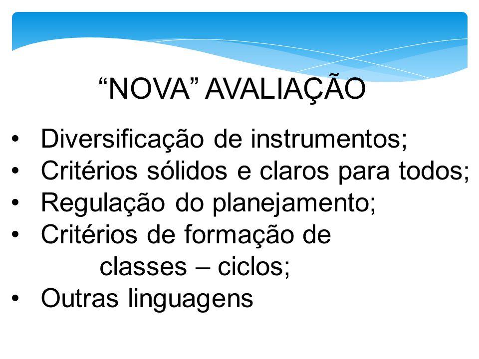 NOVA AVALIAÇÃO Diversificação de instrumentos;